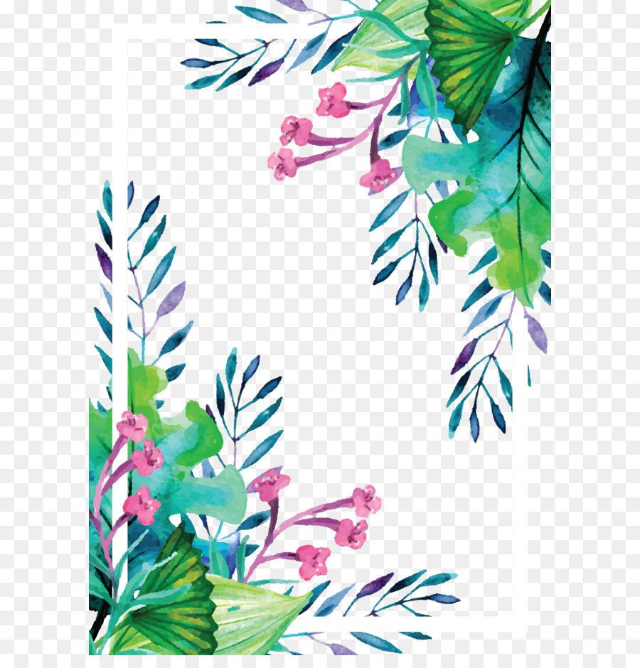 Summer Plant Watercolor Hand Painted Vector Border Watercolor Plants Watercolor Border Colourful Wallpaper Iphone