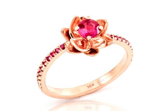 Flower Engagement Ring-rose gold with ruby ,engagement ruby ring ,gem ring ,wedding ring,flower ring