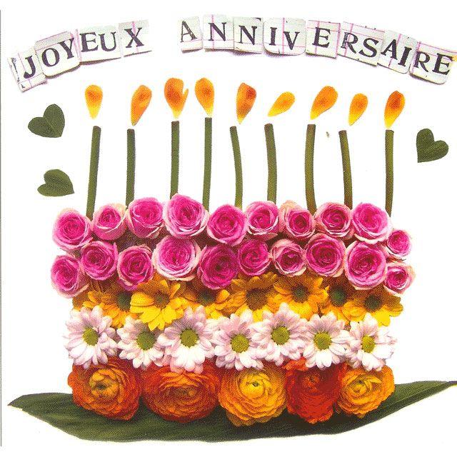 Gâteau Formé Avec Des Fleurs Colorées Joyeux Anniversaire