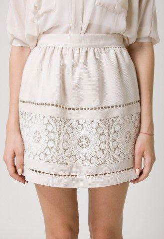 Beige Crochet Skirt by Chic+