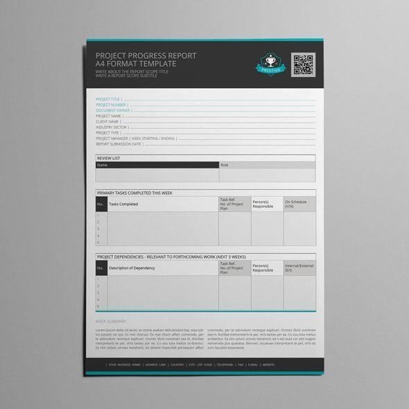Project Progress Report A4 Format Template Templates Pinterest