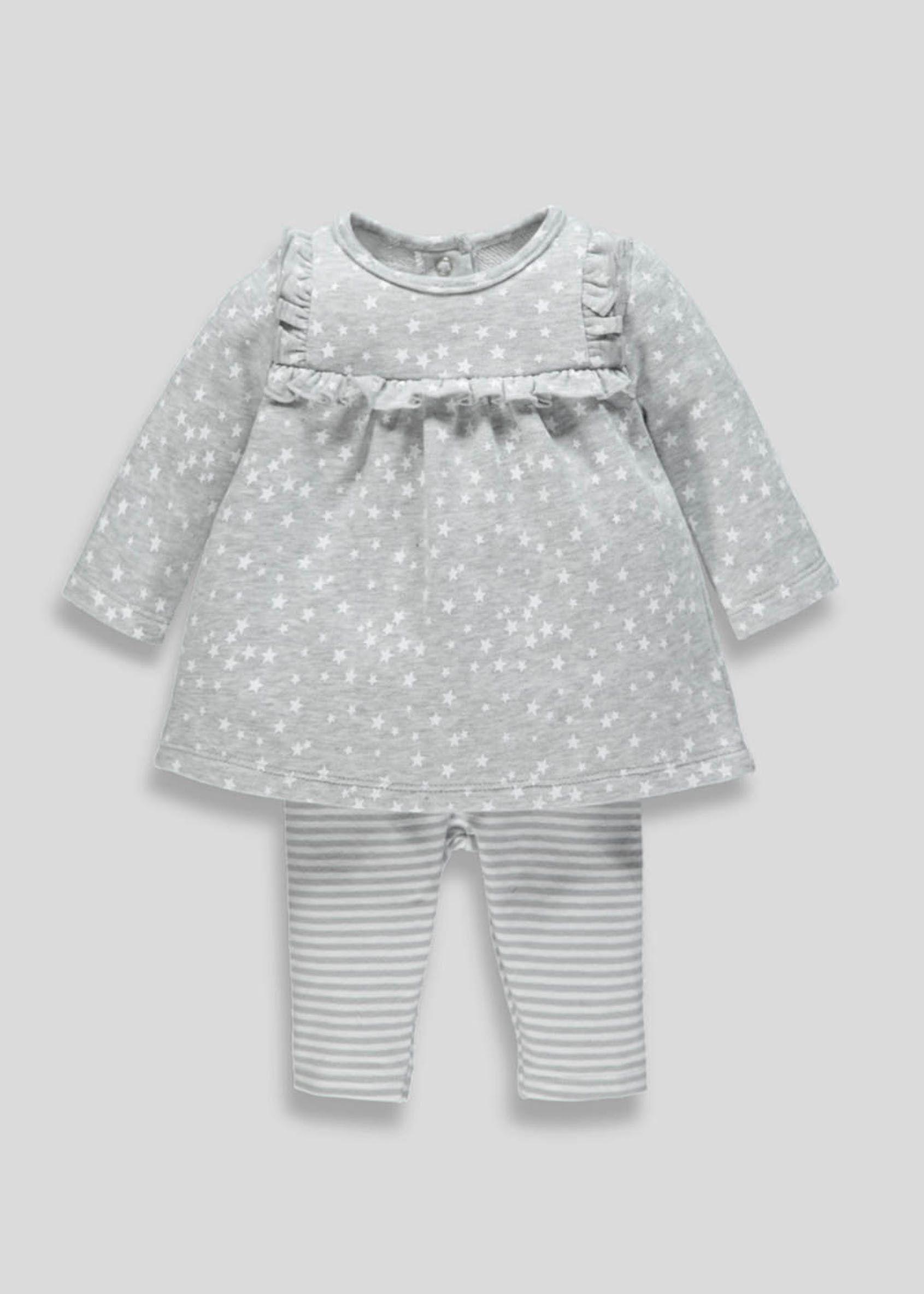 4e8a8970a2e2 Girls Dress   Leggings Set (Newborn-18mths) – Grey
