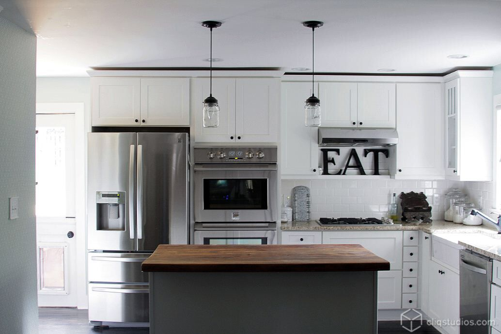 White Kitchen Stainless Appliances modern rustic kitchen makeover: white cabinets, stainless steel