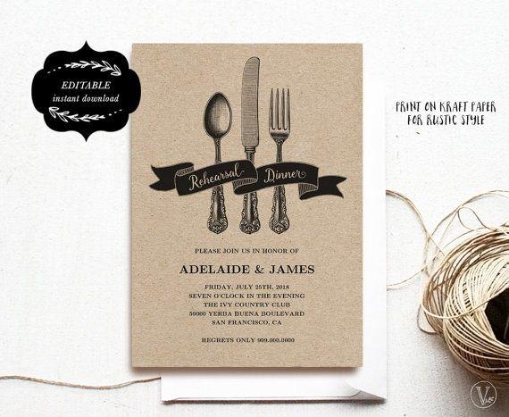 Printable Rehearsal Dinner Invitation Card Template, Kraft - dinner card template