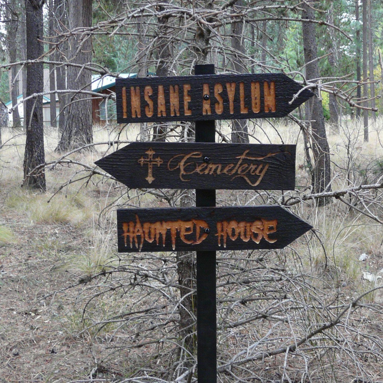 Halloween Decorations Signs Popular Items For Insane Asylum On Etsy  Halloween Hospital