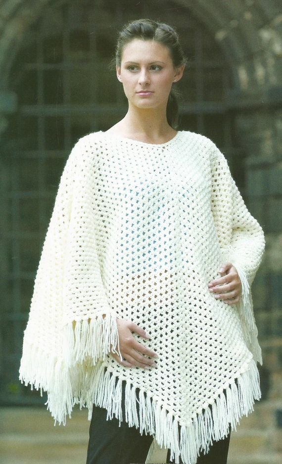 Instant Download - PDF-Lovely Aran Poncho Crochet Pattern (AD40 ...