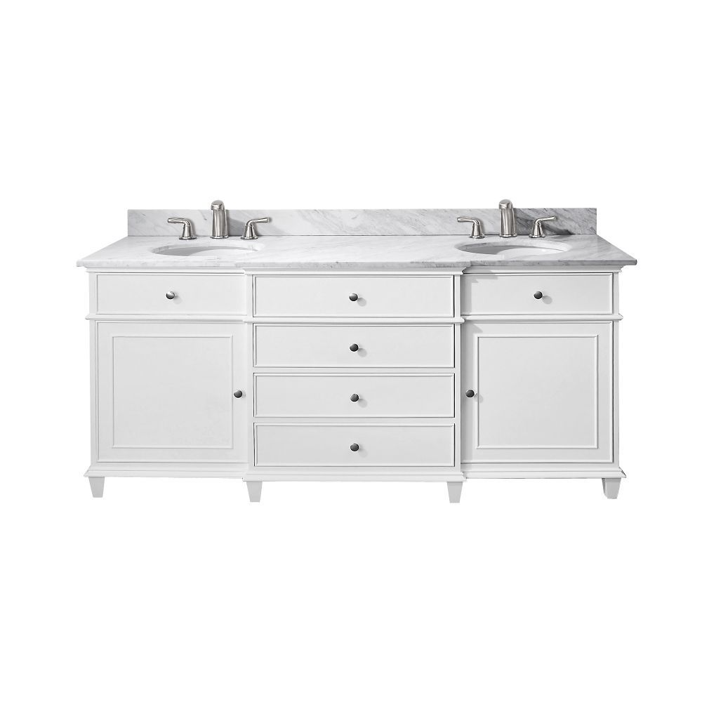 Windsor 72-inch W Double Sink Vanity in White Finish with ...