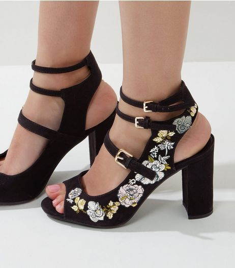 Black suedette floral embroidered triple strap heels new look black suedette floral embroidered triple strap heels new look ccuart Image collections