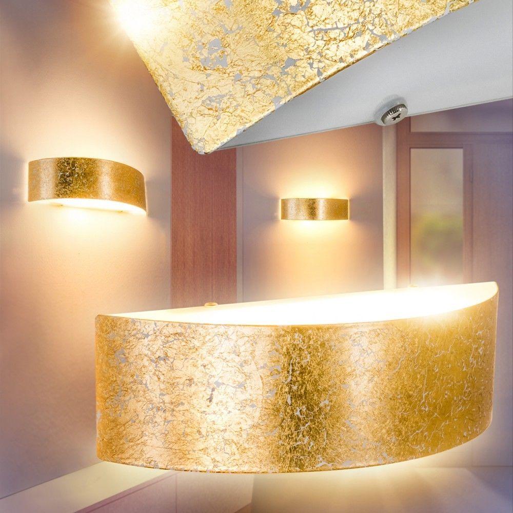 goldene edle LED Design Deckenlampe Leuchte Wand Wohn Schlaf Zimmer Flur Küche