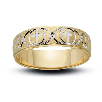 Mens Cross And Wave Wedding Band In Two Tone Gold