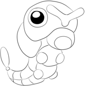 Caterpie From Generation I Pokemon Pokemon Coloring Cool Coloring Pages Coloring Books