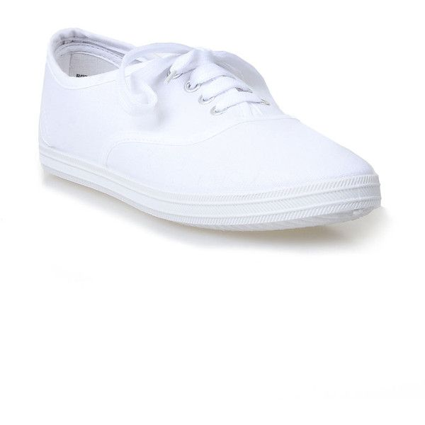 880c274d08 White Buddy Classic Canvas Lace Up Sneaker Flats ($18) ❤ liked on Polyvore  featuring