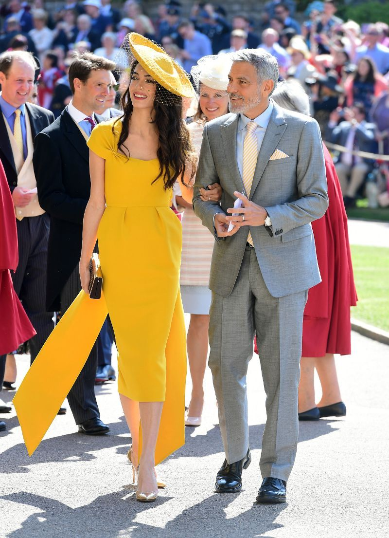 Amal Clooney Wore A Stunning Yellow Dress To The Royal Wedding Coole Kleider Gelbes Kleid Outfit Hochzeit Outfit Gast