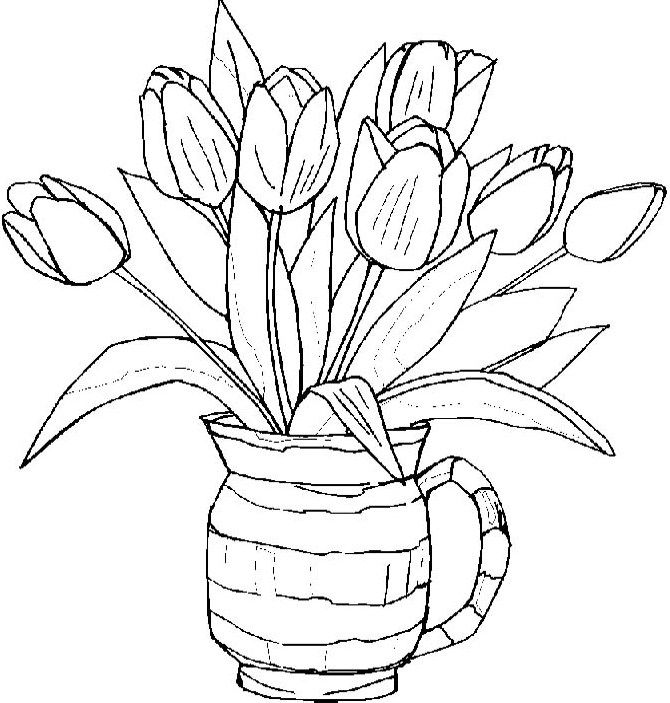 Tulips Flower Spring Coloring Pages - Spring day cartoon coloring ...