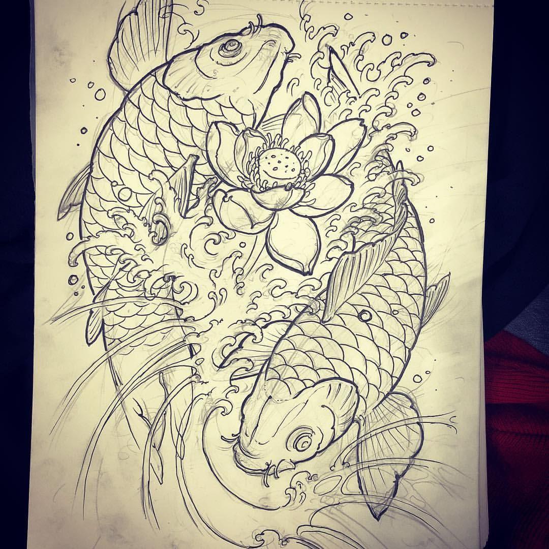 Koi And Lotus For Today Thanks For Looking Koi Fish Drawing Tattoo Japanese Koi Fish Tattoo Koi Fish Drawing
