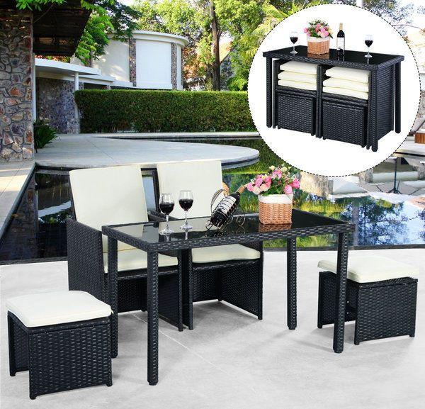 Rattan Patio Set Table Chairs Outdoor Garden Furniture Ottomans Set