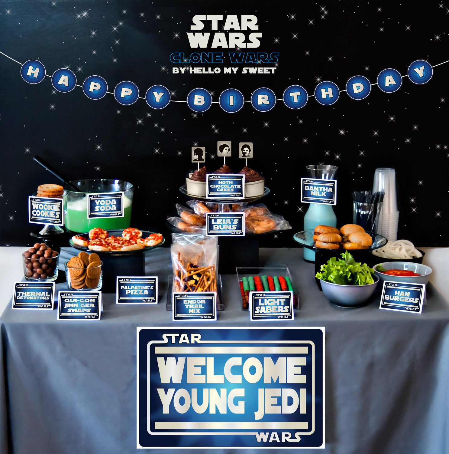 full party set star wars clone wars printable birthday party decor blue white silver - Star Wars Decorations