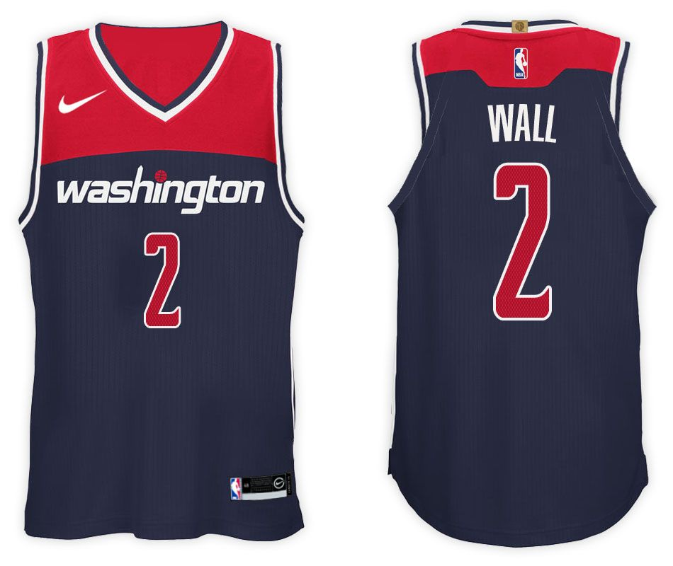 4237b01cbe0e Nike NBA Washington Wizards  2 John Wall Jersey 2017 18 New Season Blue  Jersey