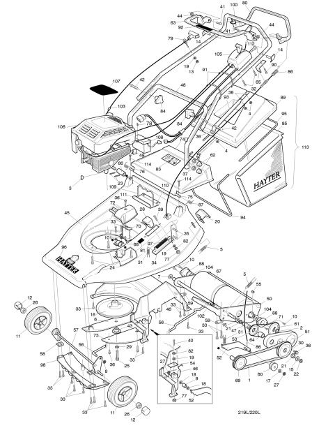 hayter harrier 48 220l002351 spares ordering diagrams