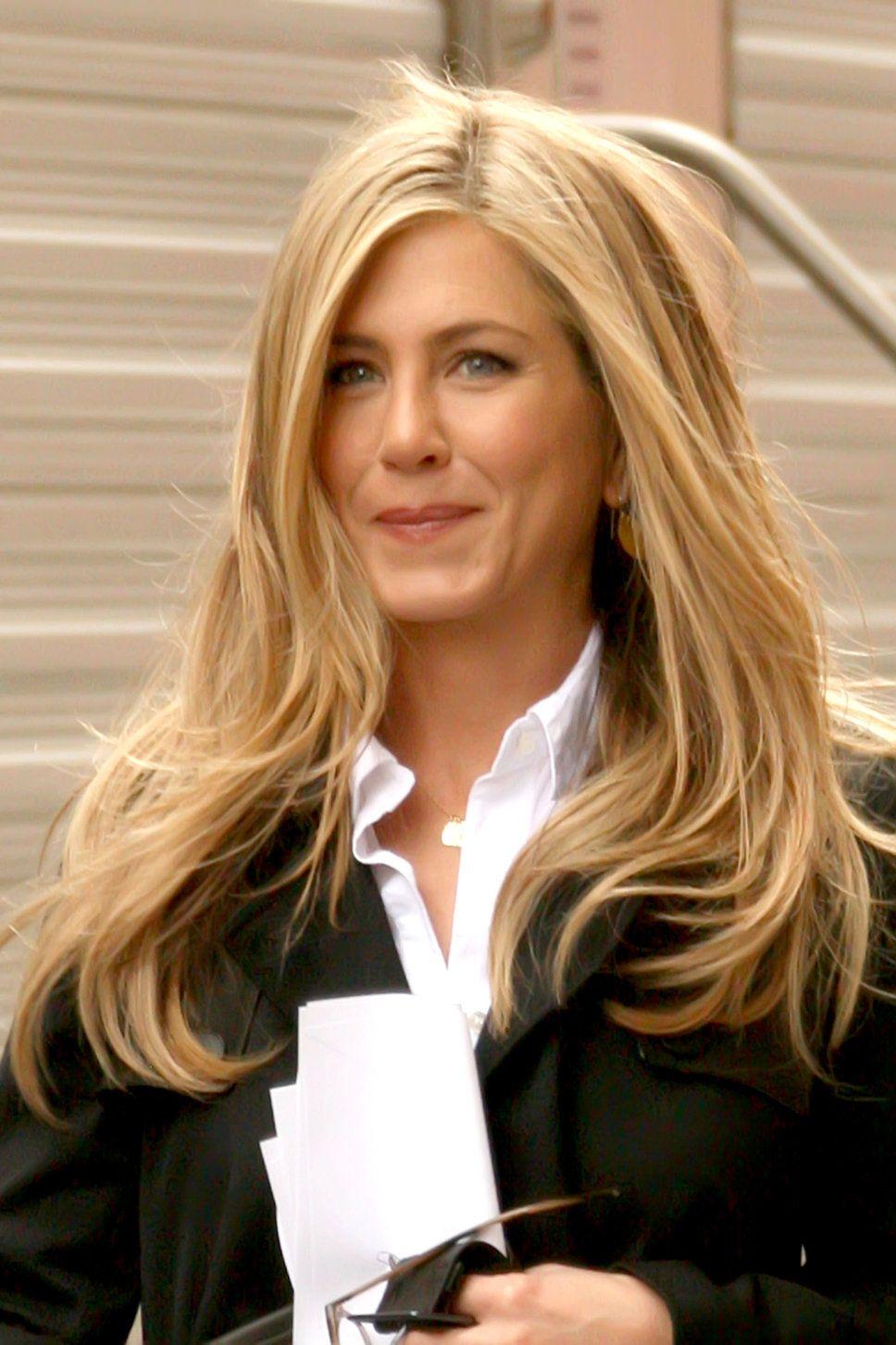 Jennifer Aniston white oxford shirt black blazer honey colored long blonde hair straight styled