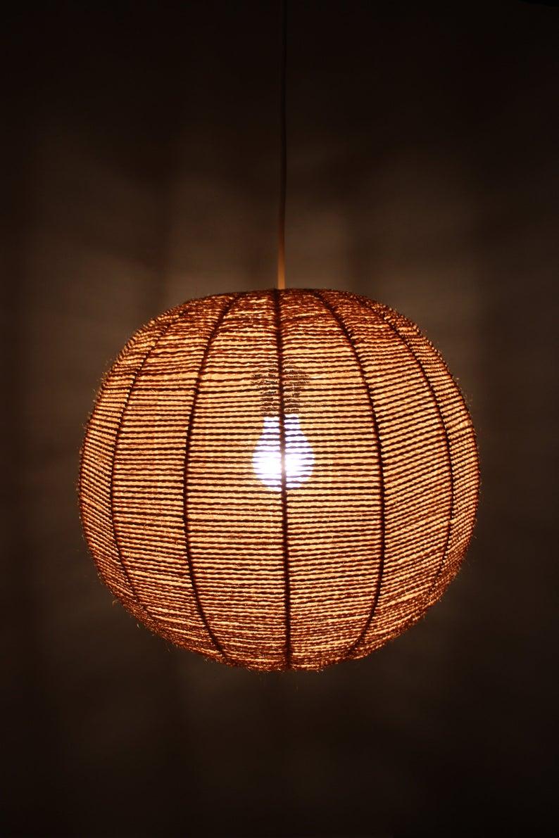 Mid Century Sisal Lamp Ball Lamp Hanging Lamp Ceilings Lamp Etsy In 2020 Ball Lamps Lamp Ceiling Lamp
