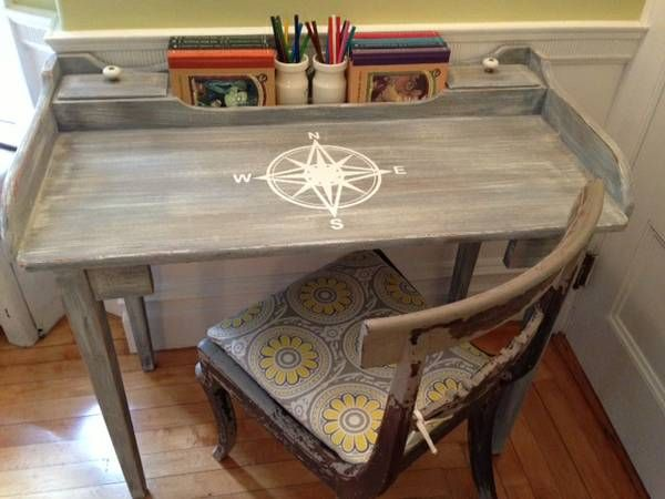 Love the compass rose on the weathered gray desk top