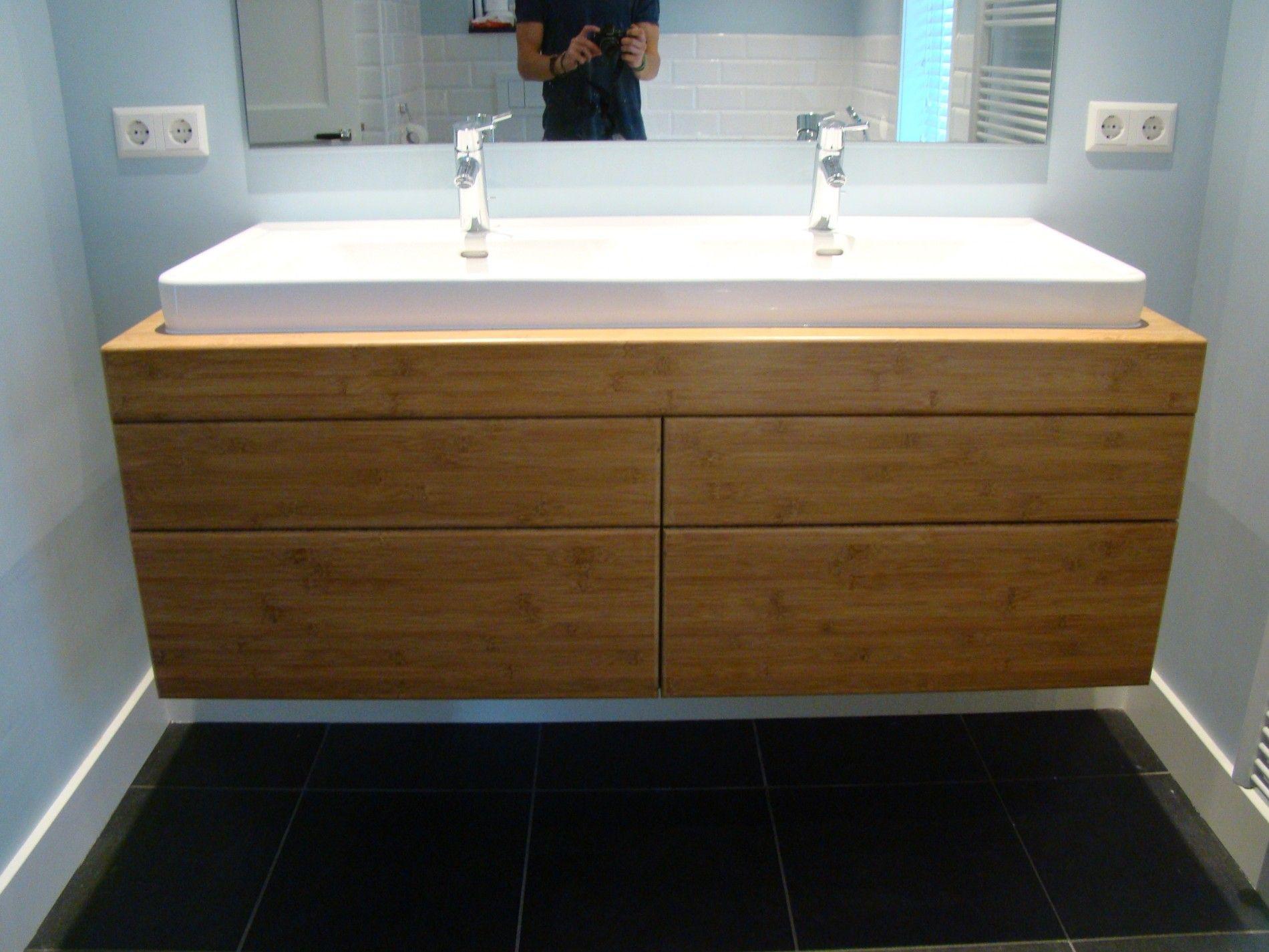 Bamboe badkamermeubel vooraanzicht - Badkamer | Pinterest ...