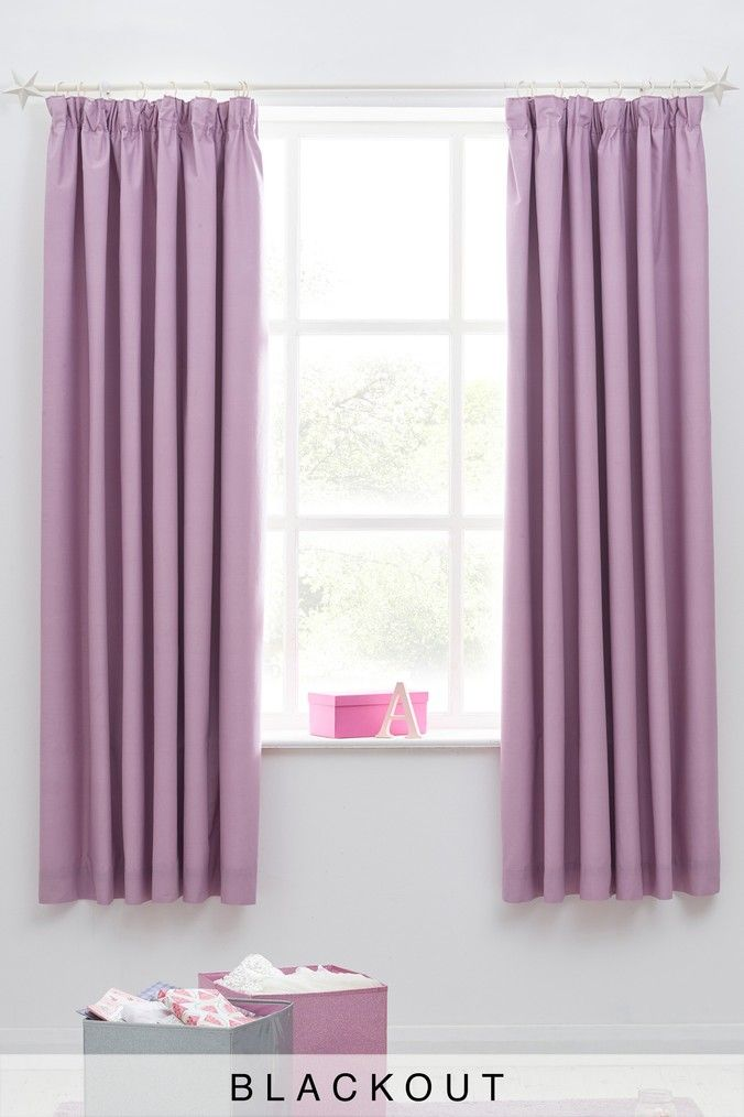 Plain Dye Blackout Pencil Pleat Curtains Pleated Curtains Girl Bedroom Designs Pencil Pleat