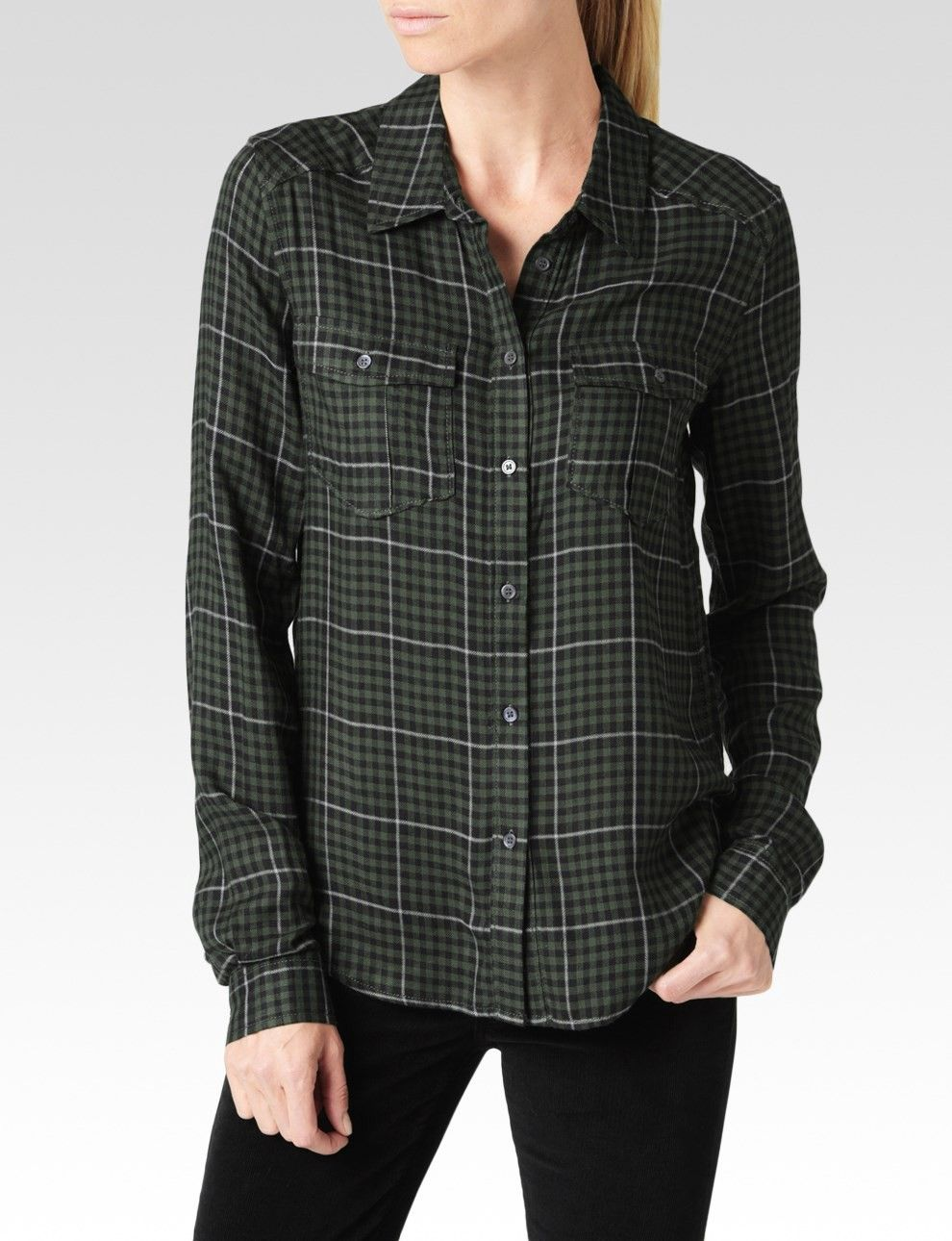 Gangster flannel shirts  PAIGE MYA SHIRT  BLACKARMYGREY HARTFORD PLAID paige cloth