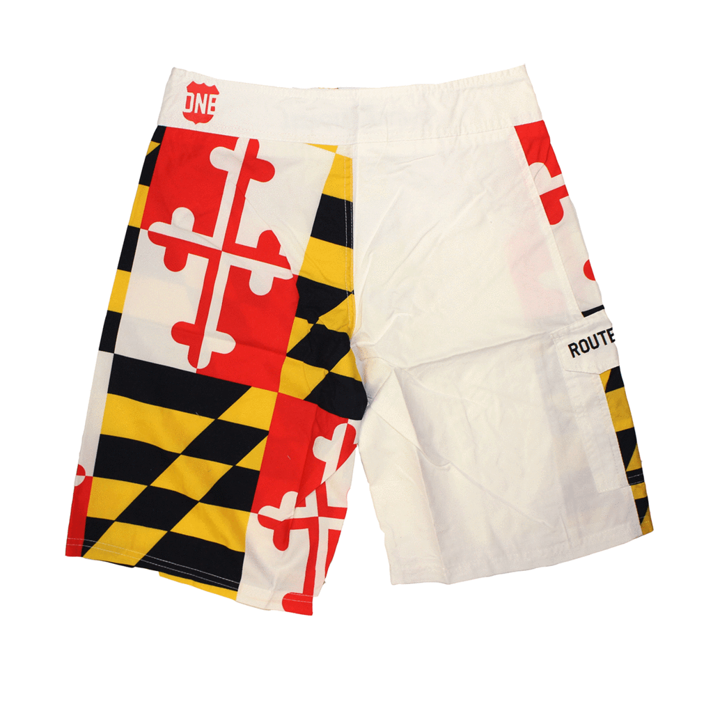Maryland Flag Board Shorts in White Route One Apparel