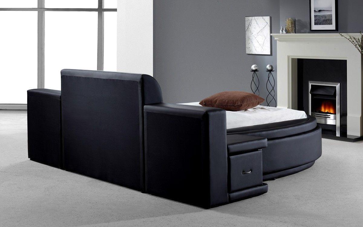 Modrest Owen Black Leatherette Round Queen Bed With Storage VG2TAU01 15