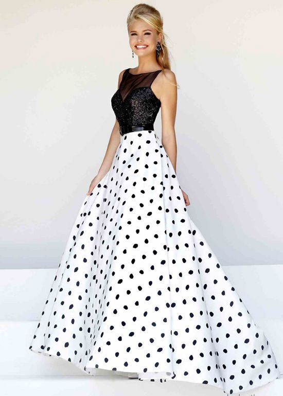 Illusion Sheer Straps Sequined Black White Ball Gown | Wow! dresses ...