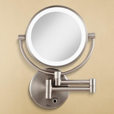Satin Nickel Cordless Led Lighted Vanity Wall Mirror 6g559 Lamps Plus Lighted Wall Mirror Wall Mounted Makeup Mirror Wall Mounted Mirror