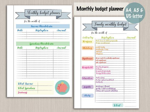 Budget planner printable template - digital PDF bujo bullet journal