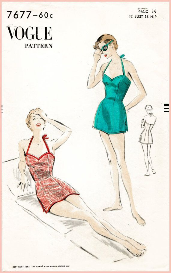 1950s 50s vintage Vogue 7677 sewing pattern bust 34 one piece swim ...