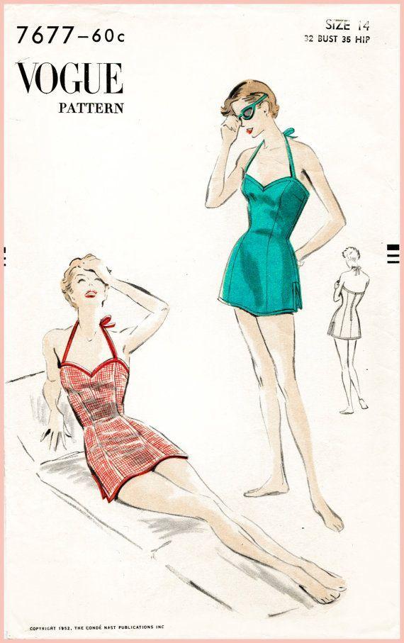 1950s 50s vintage Vogue sewing pattern bust 34 one piece swim ...