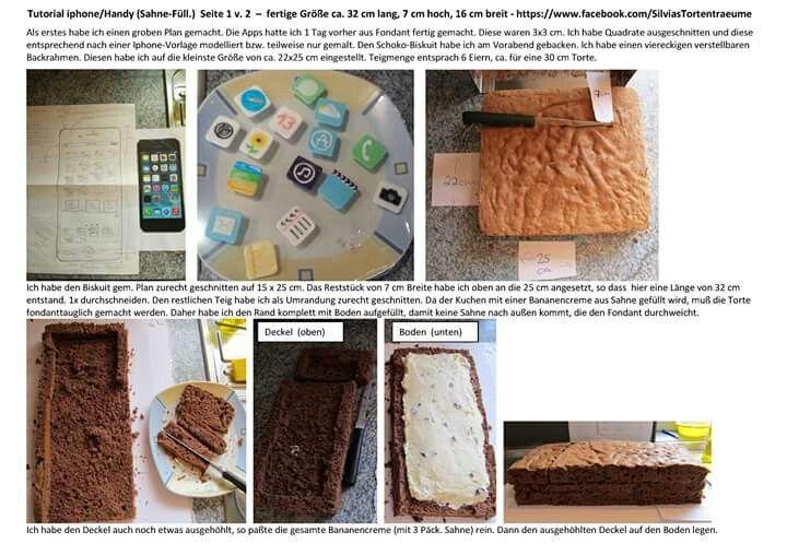 Silvia's Tortenträume: Tutorial Anleitung Fondanttauglich Torte Handy IPhone mit Sahne Seite 1/2