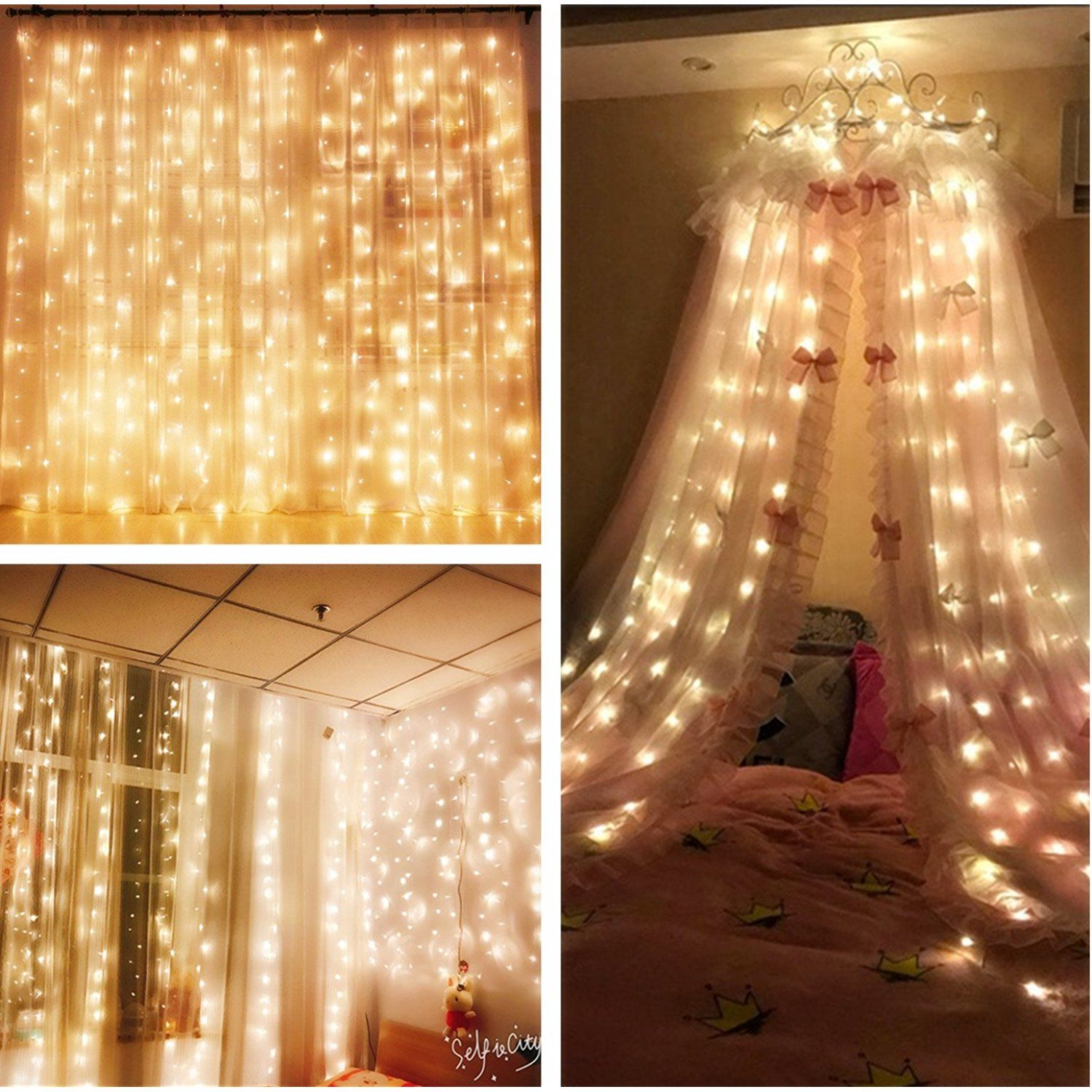 MZD8391 Curtain Icicle Lights, 9.8 X 9.8ft 304 LED Starry Fairy ...