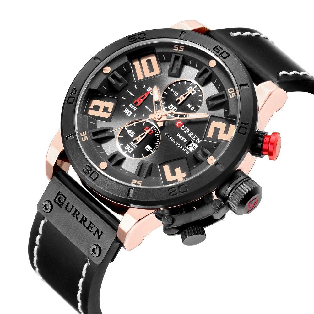 25dbf47bed9 Curren 2018 8312 Watches Men Chronograph Sport Leather Strap Military  Quartz Curren Watches Men Army men watch N9 Review