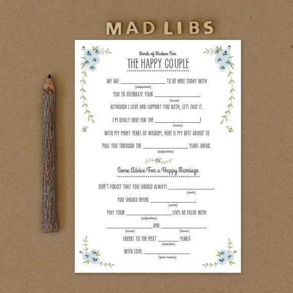 Wedding Vow Mad Libs Printable: Rustic Bridal Shower Mad Libs
