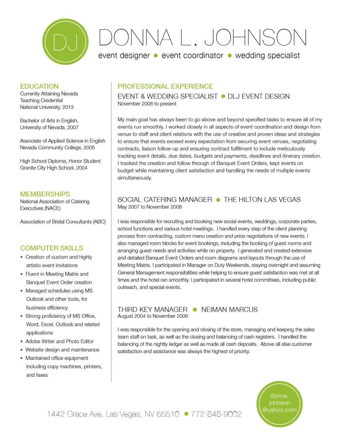 Custom two-page resume template - Color circle initials