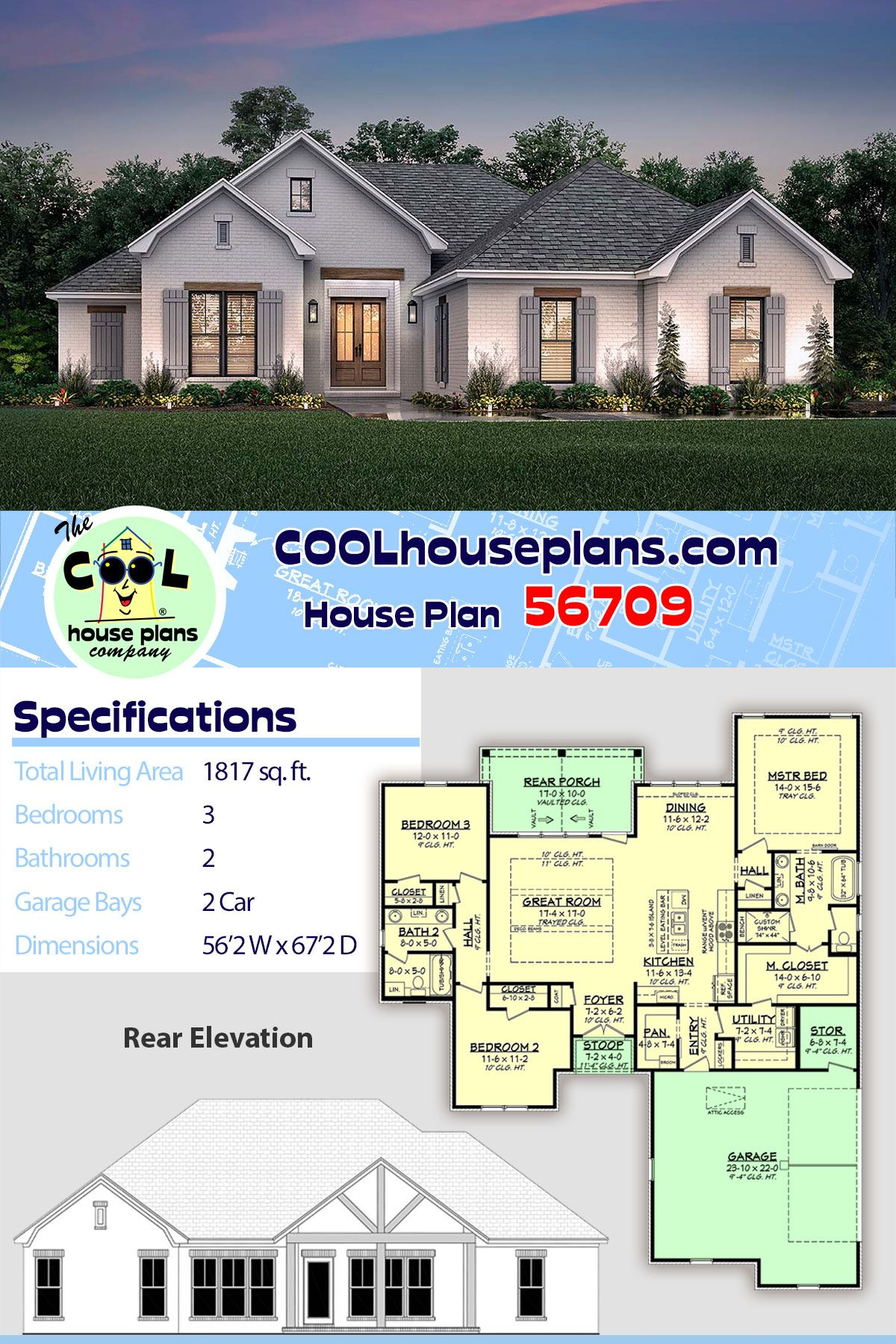Traditional Style House Plan 56709 With 3 Bed 2 Bath 2 Car Garage House Plans Country House Plans Best House Plans
