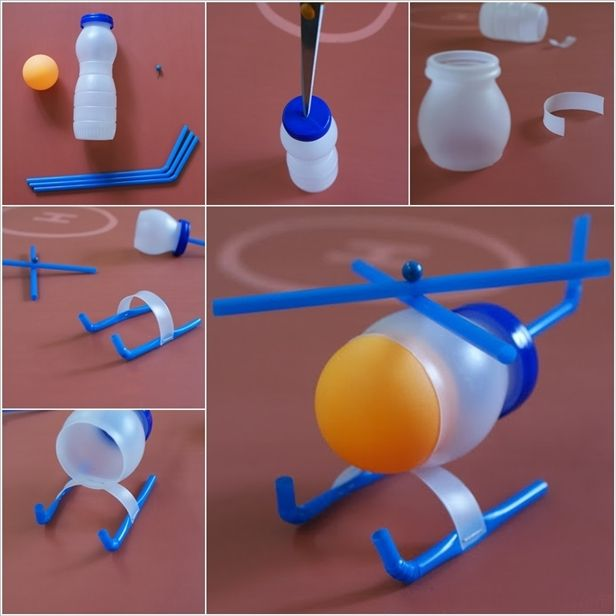 DIY Mini Plastic Bottle Helicopter It Teaches Children To Be Imaginative And Models A Simple Way Reuse Recycle HAVE FUN