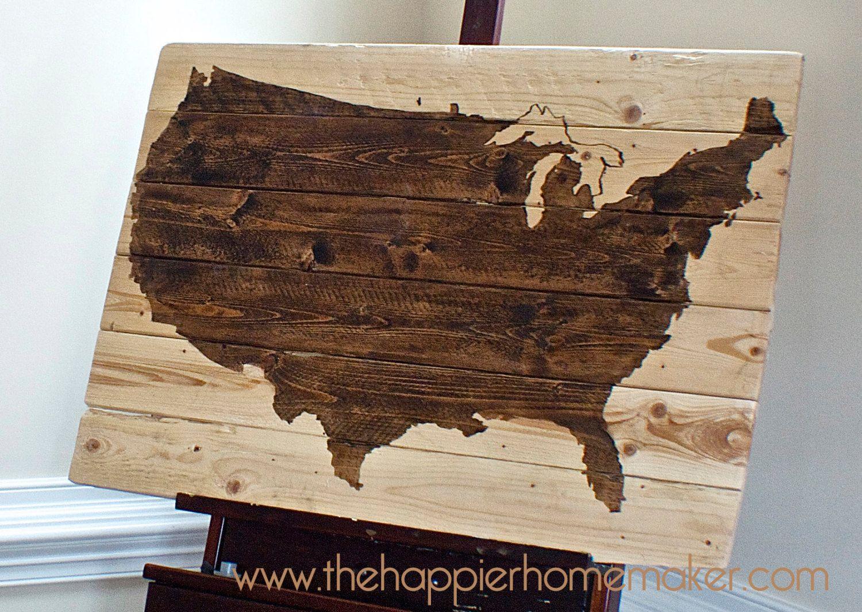 Rustic Wood United States US Map Wall Art X Via - Us map wall art