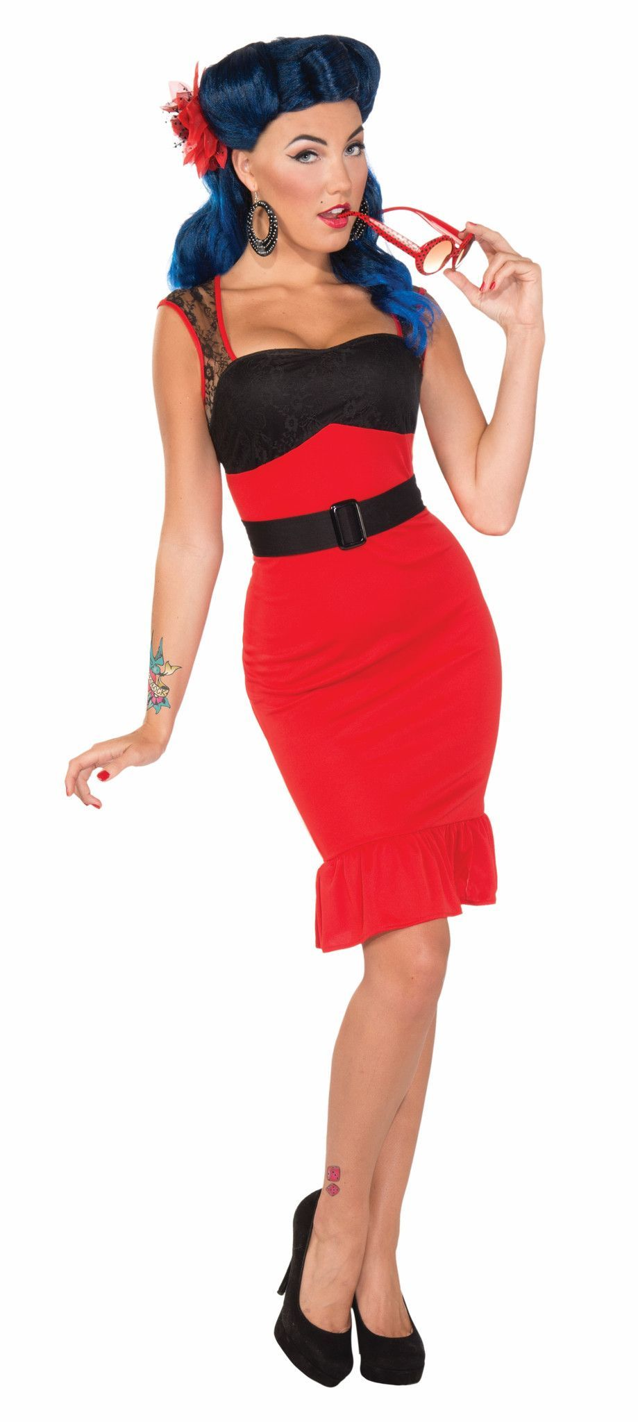 retro pin up girl scarlet rose costume dress adult in 2018