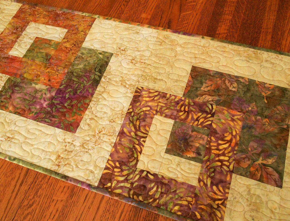 Modern Batik Table Runner In Purple Green And Gold Leaves, Fall Table Runner U2026