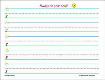 Smart Start Writing Paper Kindergarten | Pre k | Notebook paper ...