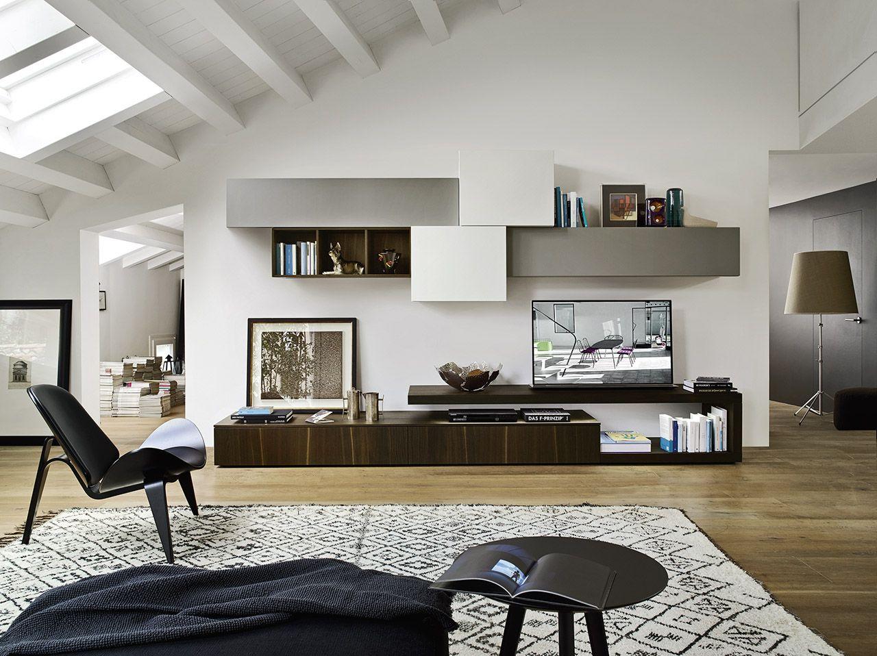 Wundervoll Moderne Livitalia Wohnwand C31 Mit Schwebenden TV Board Und Hängeschränken  In Verschiedenen Tiefen. #Wohnwand