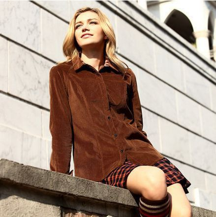 Veri Gude Spring and Autumn Women's Shirt British Style Slim Fit Corduroy Shirt Long Sleeve