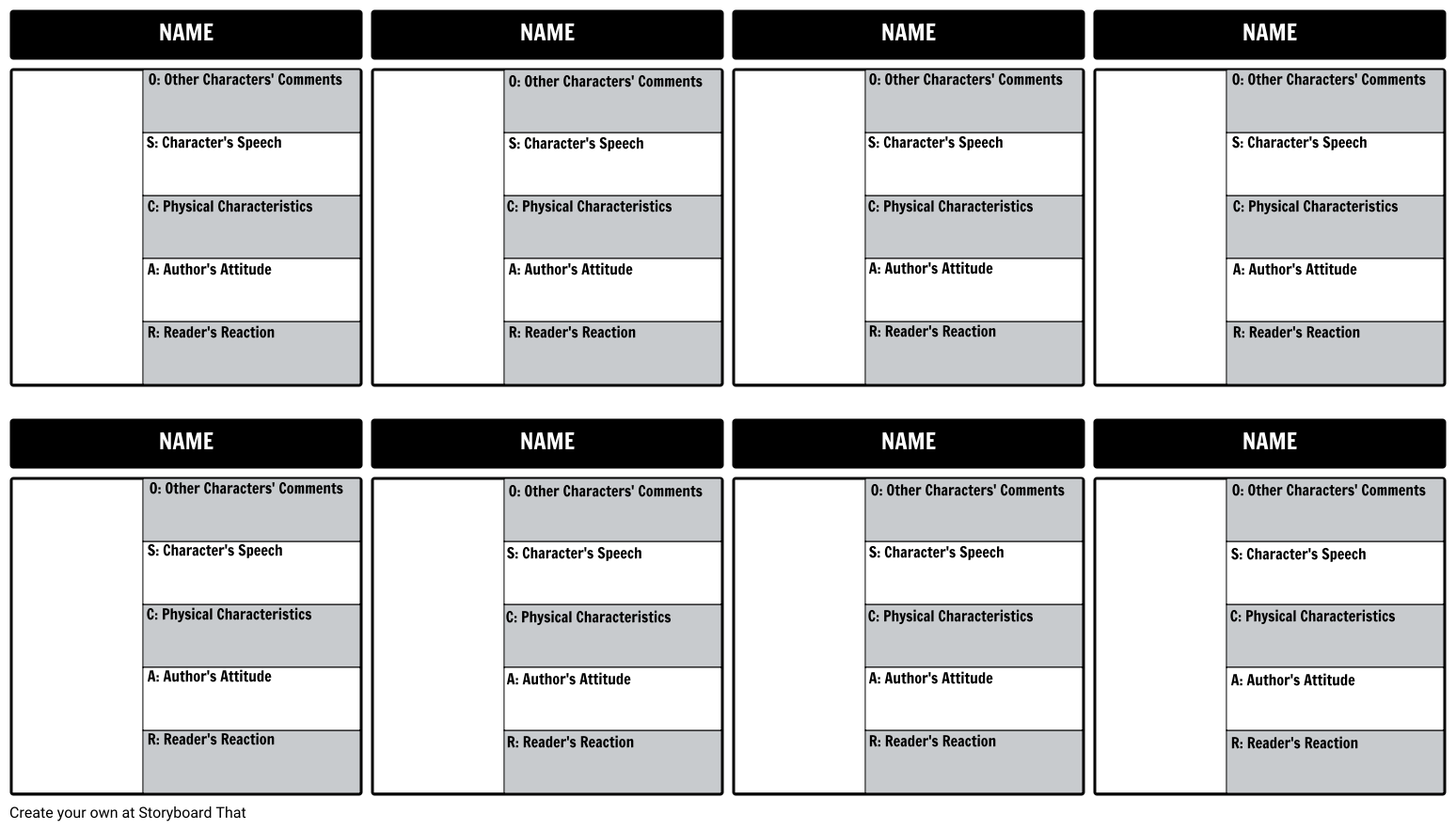 Create a storyboard template or graphic organizer template for your ...